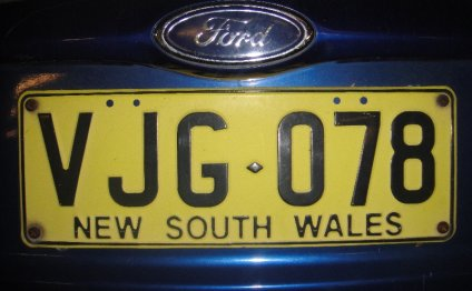 New South Wales License Plate