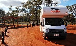 An Apollo campervan parked at Mount Gundabooka national playground