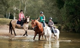 Family horseriding at Glenworth Valley, Central Coast