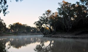 sunlight rises within the Barwon lake in Brewarrina