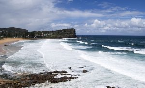 see of Palm seashore looking out to Barranjoey Headland, Northern Beaches